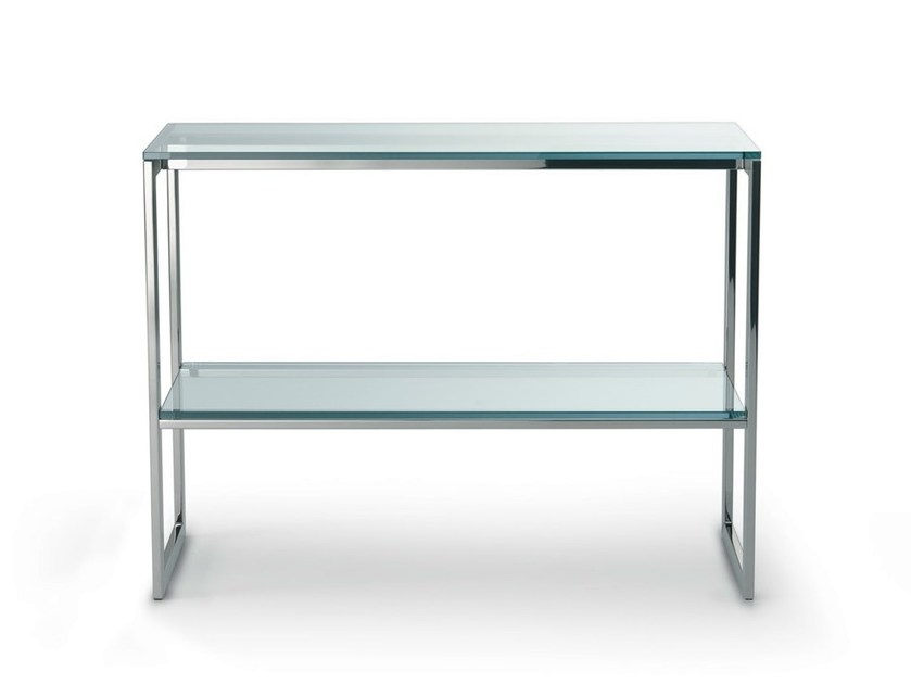 Rectangular crystal and stainless steel console table HI SQUARE - Gallotti&Radice