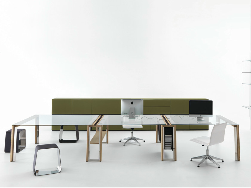 Scrivania rettangolare in cristallo wgs double by gallotti for Scrivania cristallo design