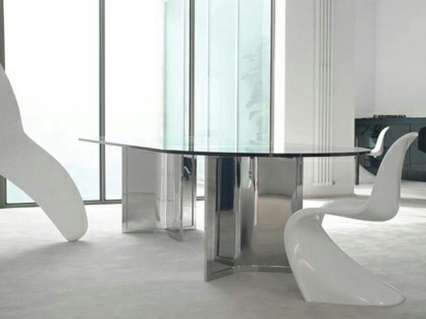 Tavolo ovale in cristallo raj gallotti radice - Tavolo con radice ...