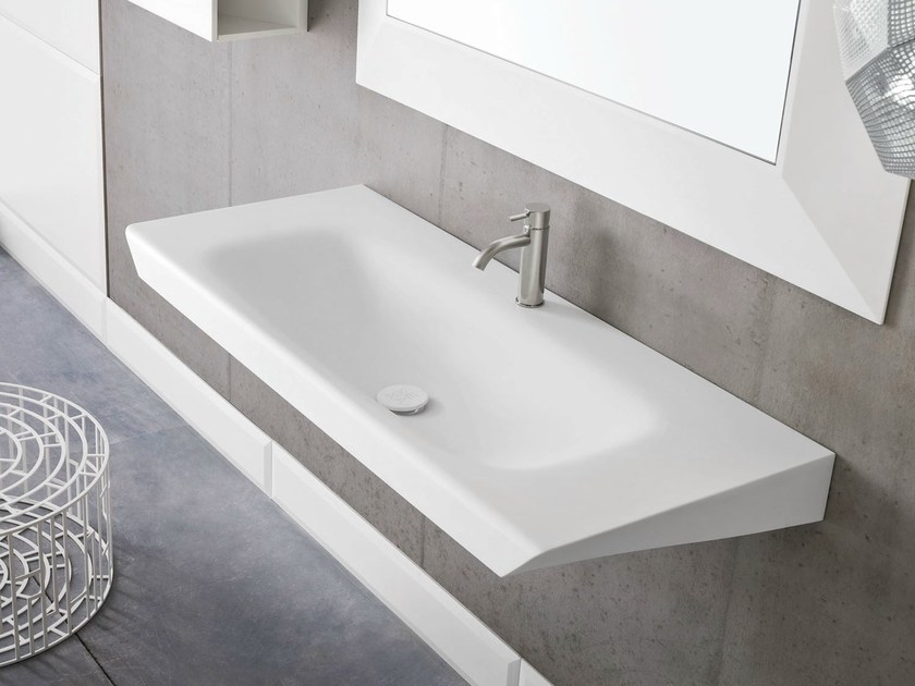 Rectangular wall-mounted Corian® washbasin WARP | Washbasin - Rexa Design