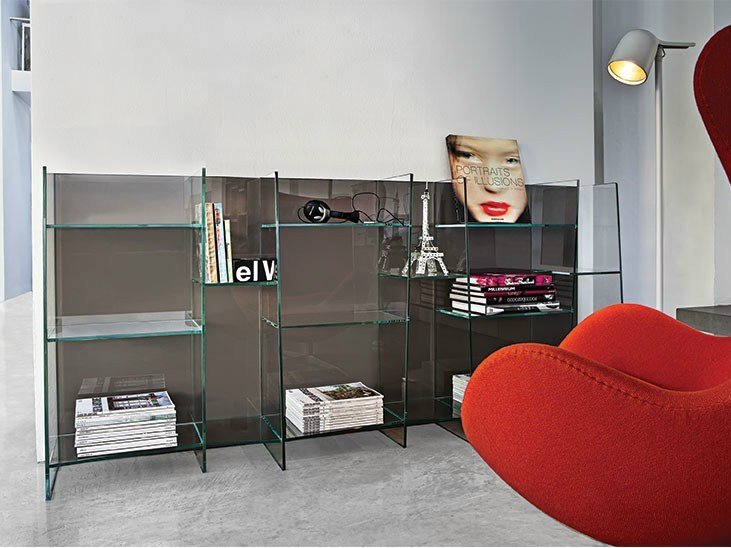 Wall-mounted modular crystal bookcase DELPHI H. 96 - SOVET ITALIA