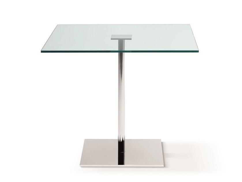 Square tempered glass table FARNIENTE ALTO | Square table - T.D. Tonelli Design
