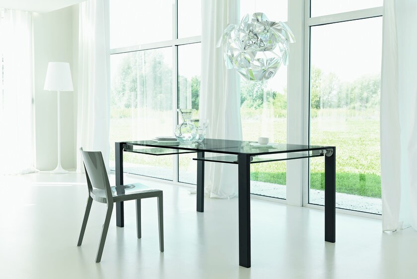 Extending glass table LIVINGSTONE by Tonelli Design