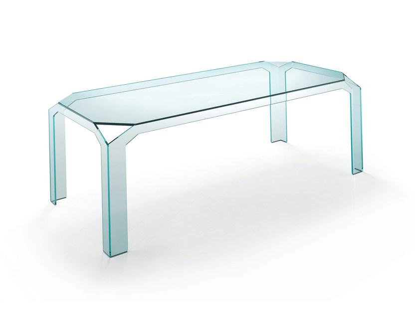 Rectangular glass table NERVI - T.D. Tonelli Design