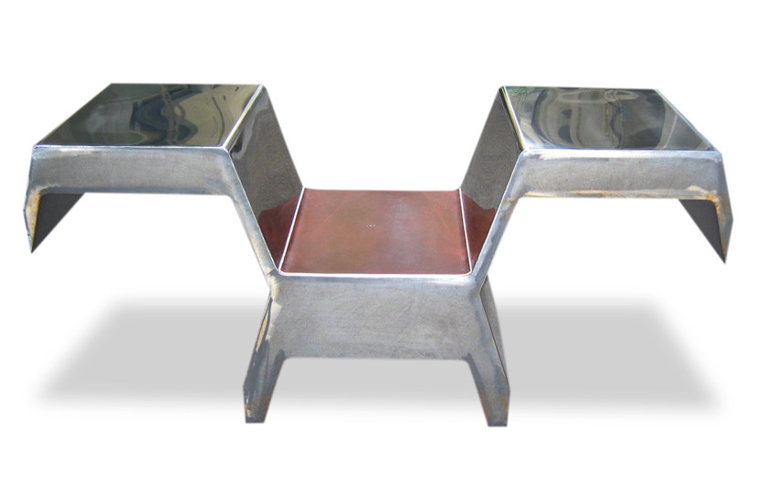 Stainless steel chair with armrests INVADER by ICI ET LÀ