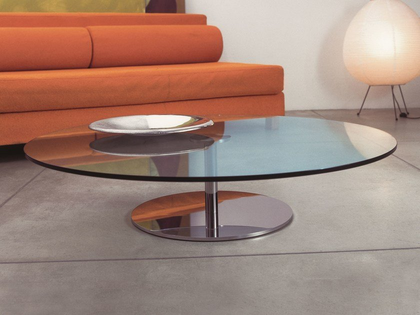 Oval Tempered Glass Coffee Table FARNIENTE Oval Coffee Table T D
