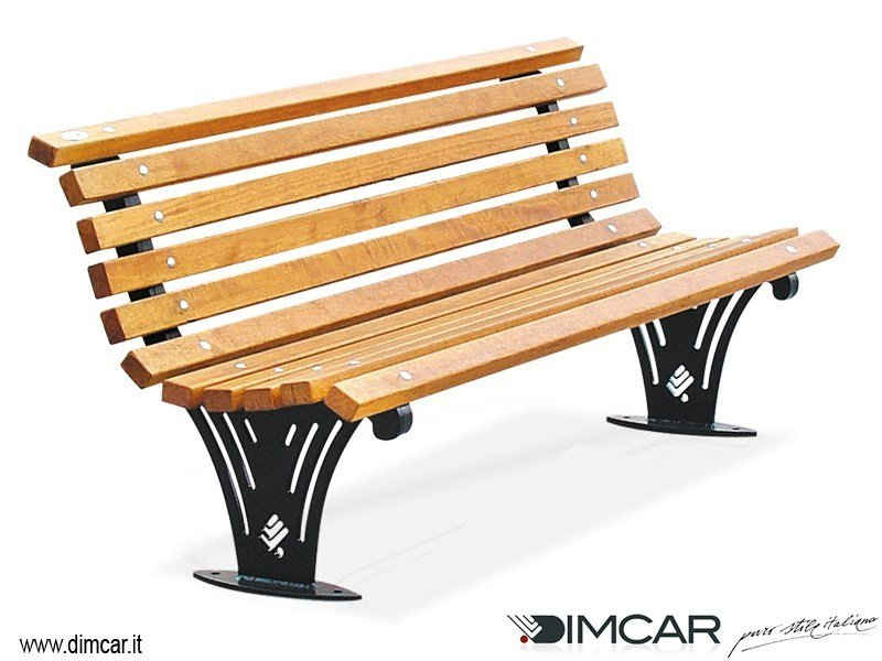 Contemporary style metal Bench with back Panchina Ariete con listoni in legno by DIMCAR