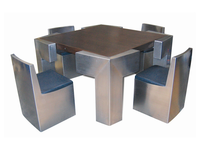 "Square steel table BIG CONNECT ""WENGUÉ"" - ICI ET LÀ"