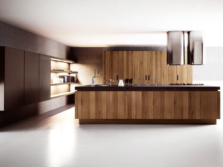 Walnut kitchen with island YARA - COMPOSITION 3 - Cesar Arredamenti