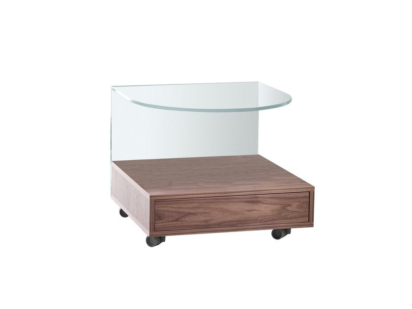 Glass bedside table with casters ROLLO - T.D. Tonelli Design