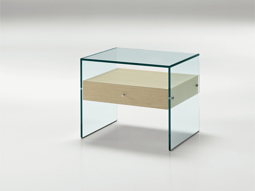 Glass bedside table secret by t d tonelli design - Table chevet maison du monde ...