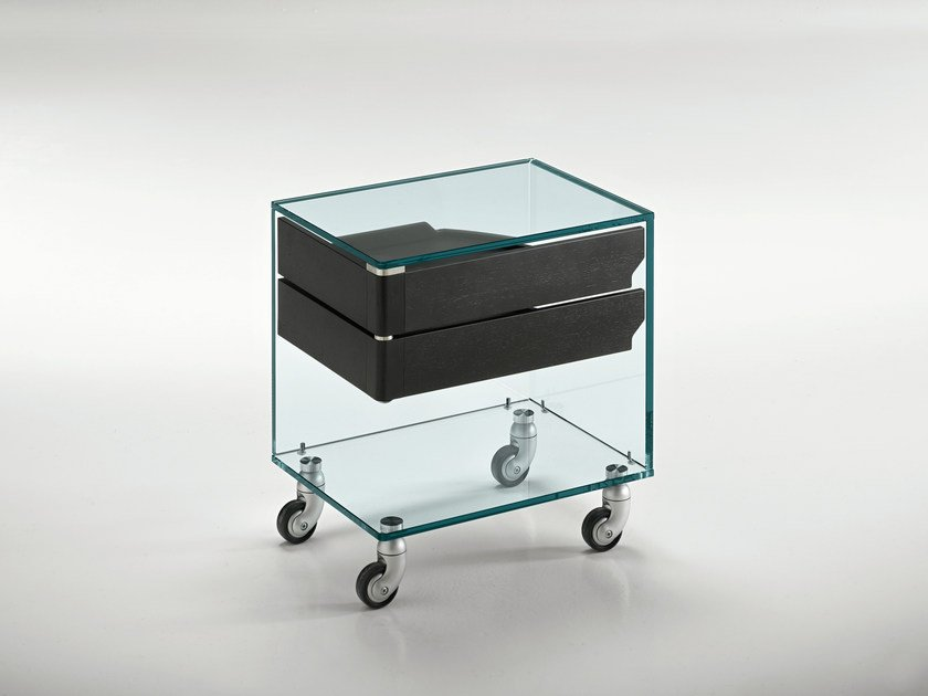 Glass bedside table with casters VENERDÌ by Tonelli Design