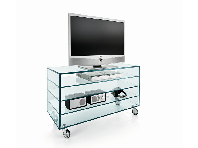 Glass TV cabinet with casters COMÒ ALTO - T.D. Tonelli Design