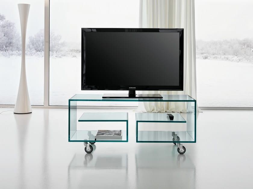 Meuble tv en verre à roulettes FLÒ 1 by TD Tonelli Design design Isao Hosoe -> Meubles Tv En Verre Sur Roulettes