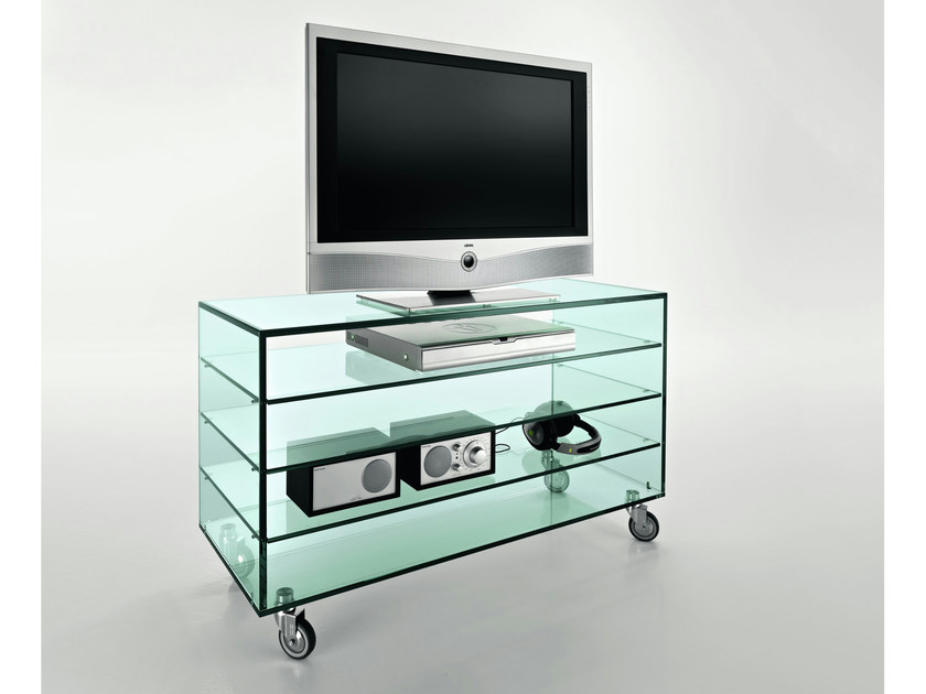 Glass TV cabinet with casters GRATTACIELO FIX - T.D. Tonelli Design