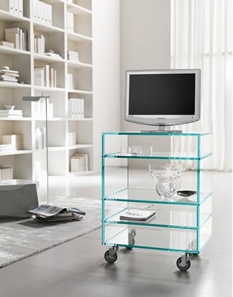 Glass TV cabinet with casters GRATTACIELO HI-FI by Tonelli Design