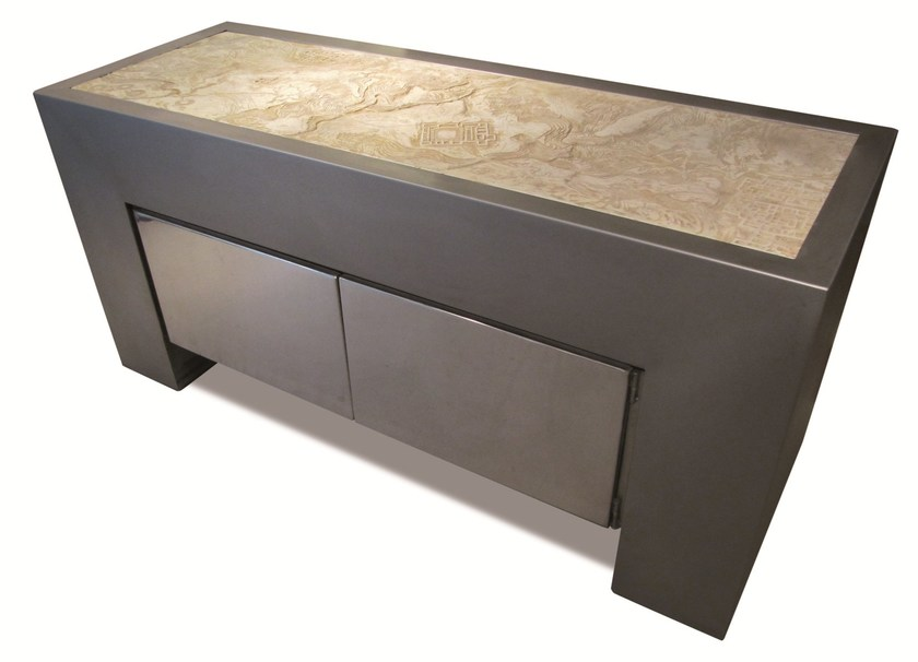 Design stainless steel sideboard with doors KING TUT - ICI ET LÀ