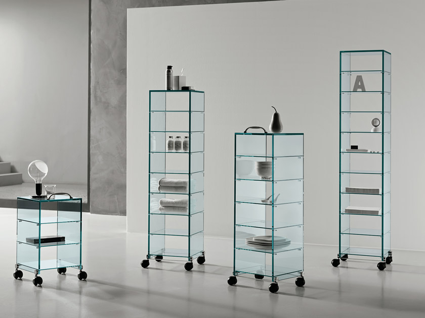 Glass display cabinet with casters DAPPERTUTTO - T.D. Tonelli Design
