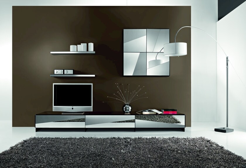 Modular sectional wall-mounted TV wall system