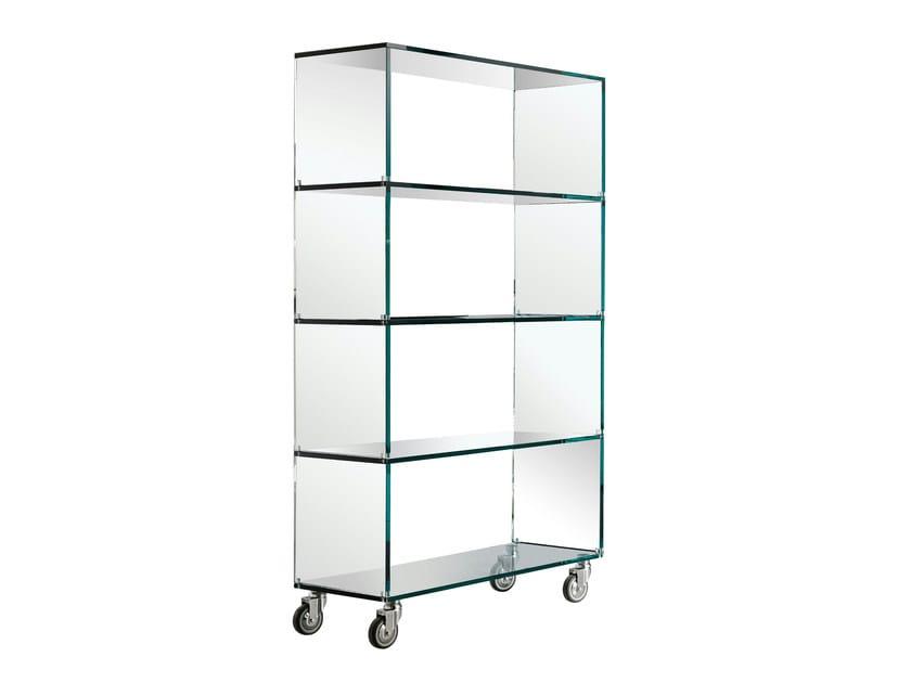 Glass bookcase with casters LIBRERIA - T.D. Tonelli Design