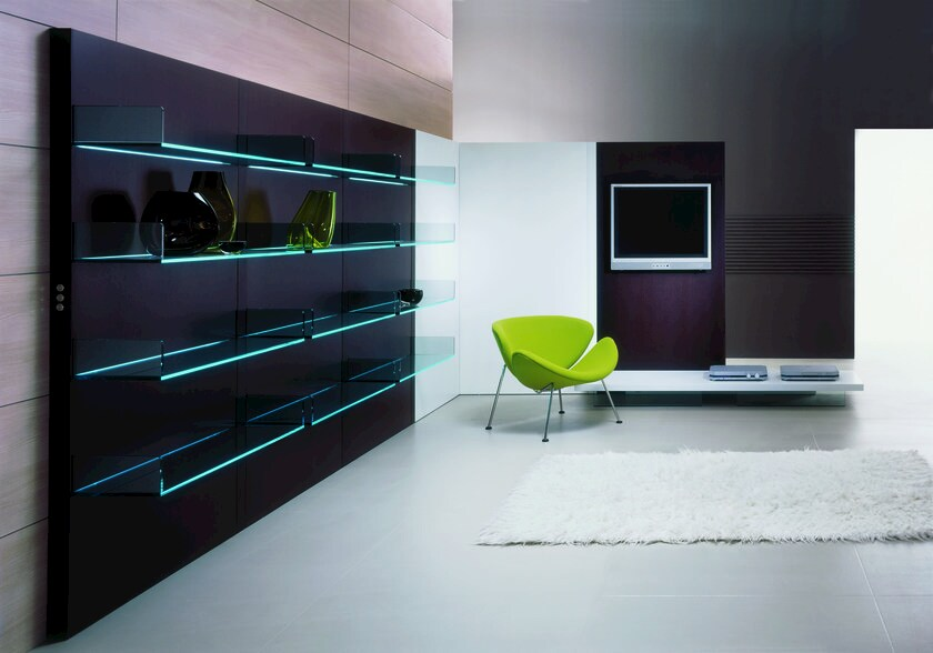 Wall-mounted glass storage wall LIGHTERIE - T.D. Tonelli Design