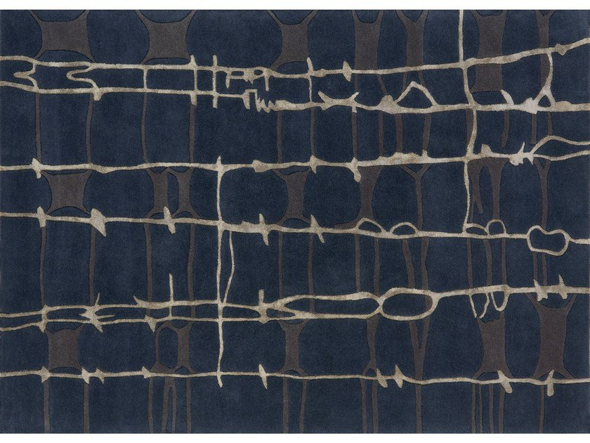 Patterned rectangular rug FILAMENTS by NOW CARPETS