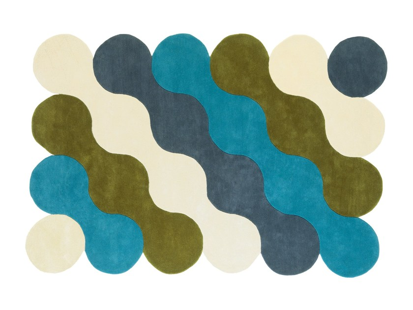 Patterned wool rug VAGUES DE LA MER by NOW CARPETS