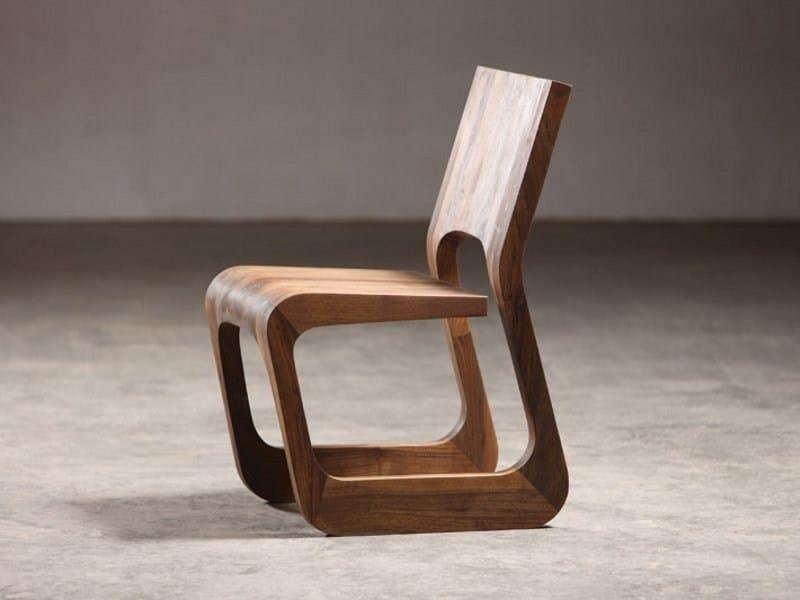 Sled base walnut chair STEEK   Chair - Artisan