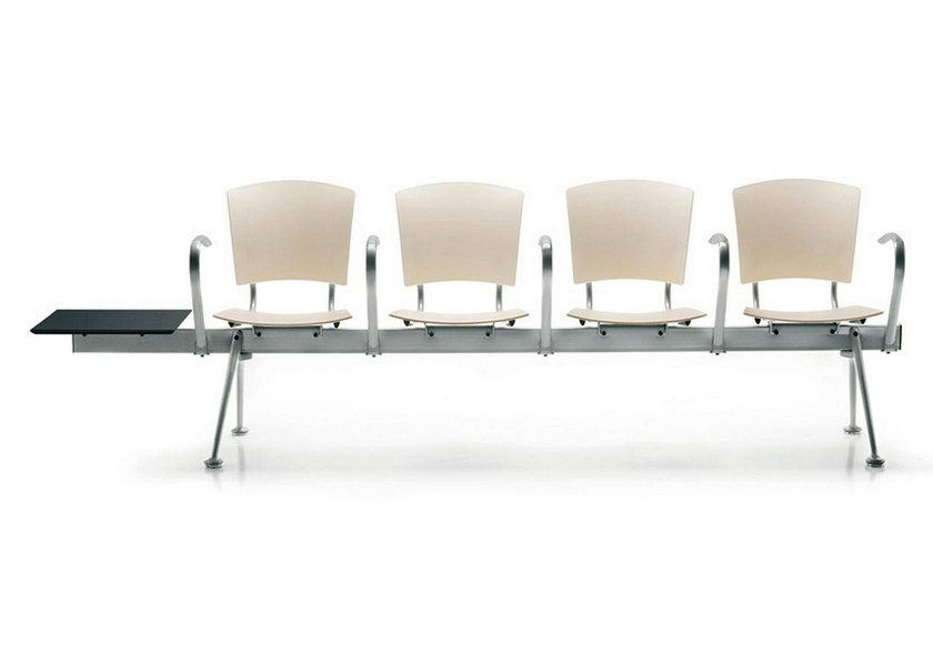 Steel and wood beam seating with armrests EINA | Beam seating - ENEA