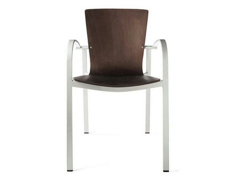 Steel and wood chair with armrests LOGICA | Chair with armrests - ENEA