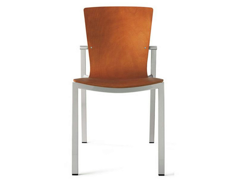 Upholstered wooden chair LOGICA | Steel and wood chair - ENEA