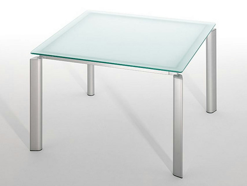 Square glass and steel table LINK SYSTEM - ENEA