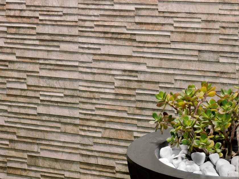 Outdoor porcelain stoneware wall tiles mindanao by realonda for Outdoor wall coverings garden
