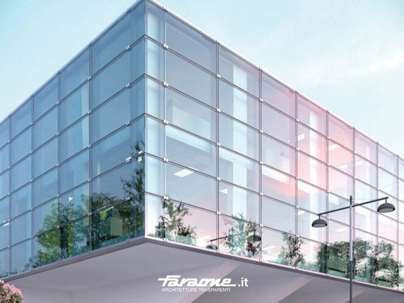 The new system for point-fixed glass curtain walls KLIMA - FARAONE