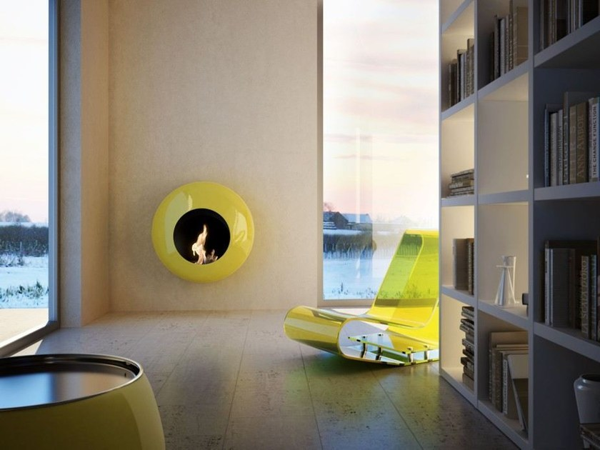Wall-mounted carbon steel fireplace BB_O by ANTRAX