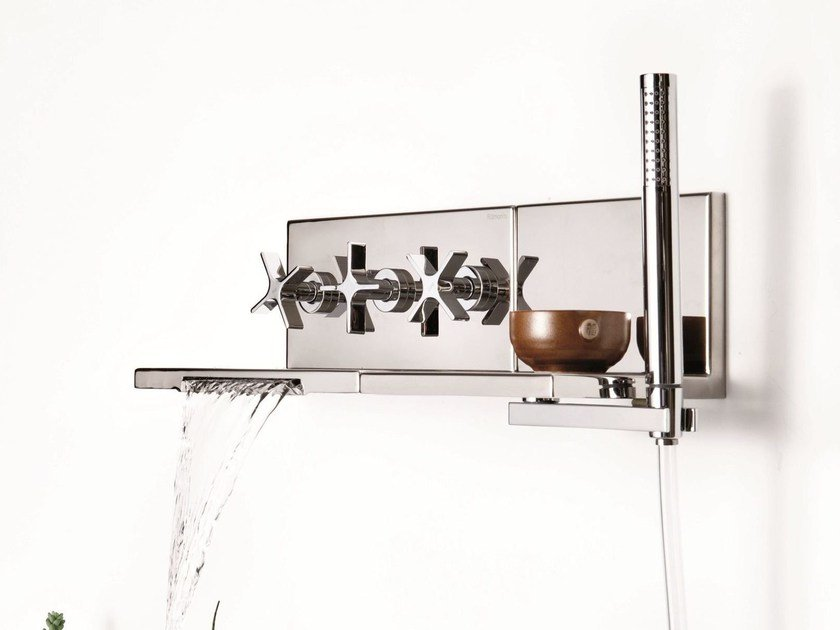 Wall-mounted bathtub set with hand shower WATERBLADE | Wall-mounted bathtub set - RUBINETTERIE RITMONIO
