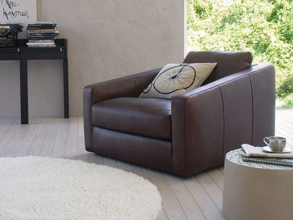 Upholstered leather armchair with armrests TOBIAS | Armchair - ESTEL GROUP