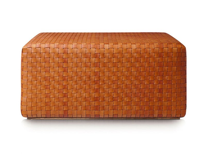 Tanned leather pouf DAMA - ESTEL GROUP