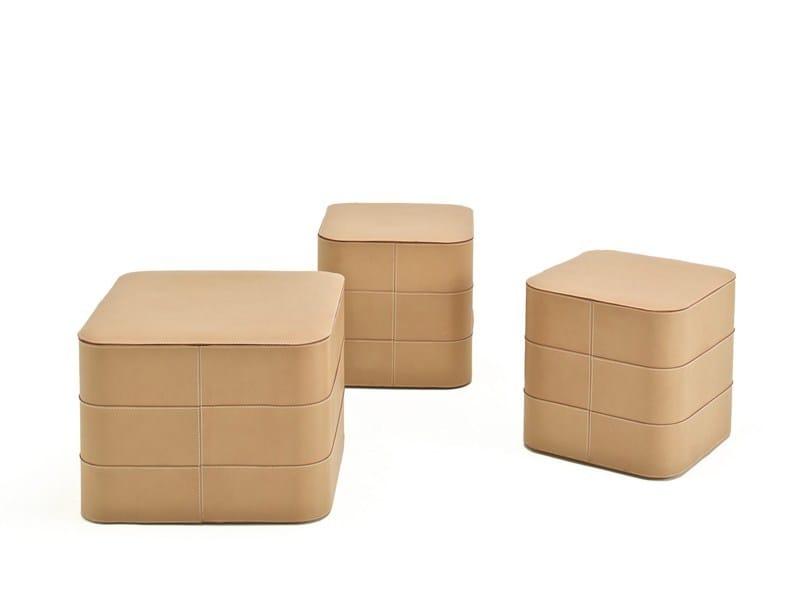 Storage tanned leather pouf TURBANTE - ESTEL GROUP