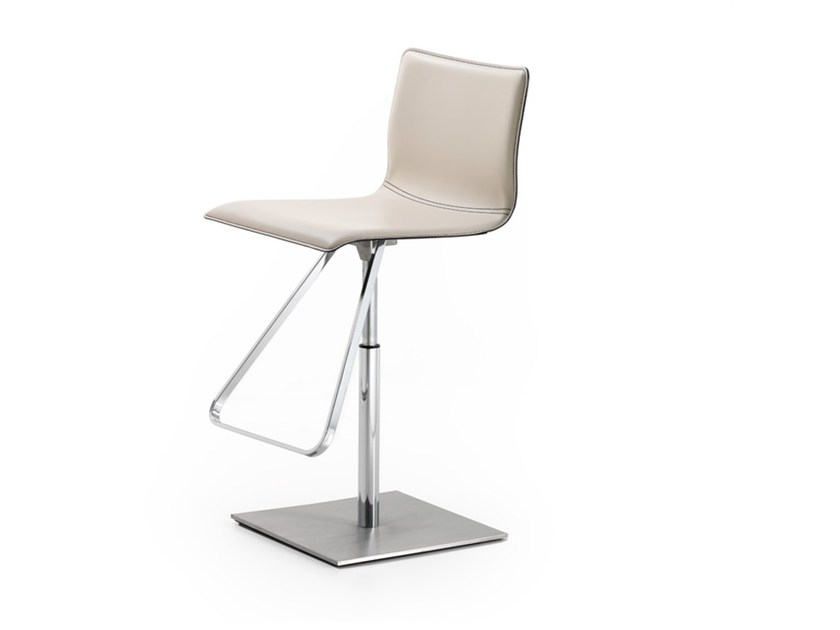 Swivel tanned leather counter stool TOTO - Cattelan Italia