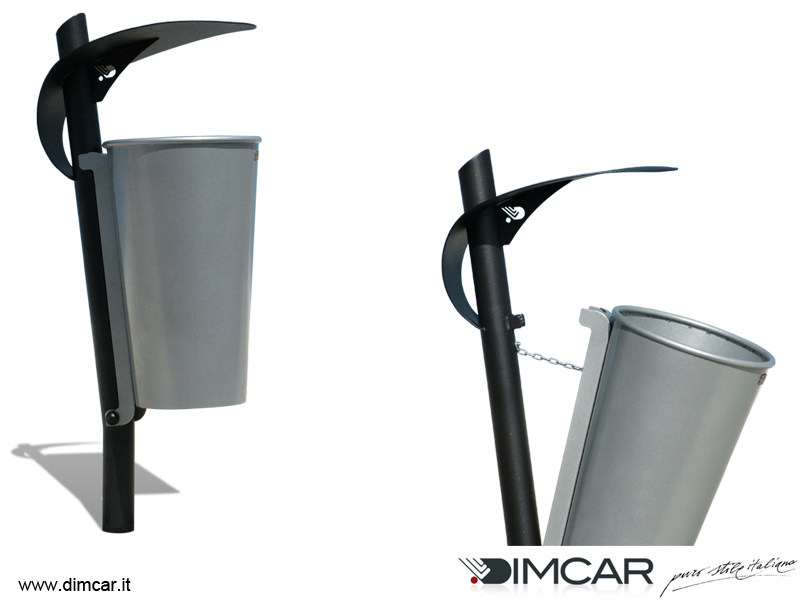 Outdoor metal waste bin with lid Cestino Condor by DIMCAR