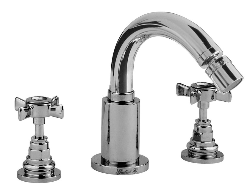 3 hole bidet tap with Swarovski® crystals G5 CRYSTAL | Bidet tap with swivel spout by Rubinetteria Giulini