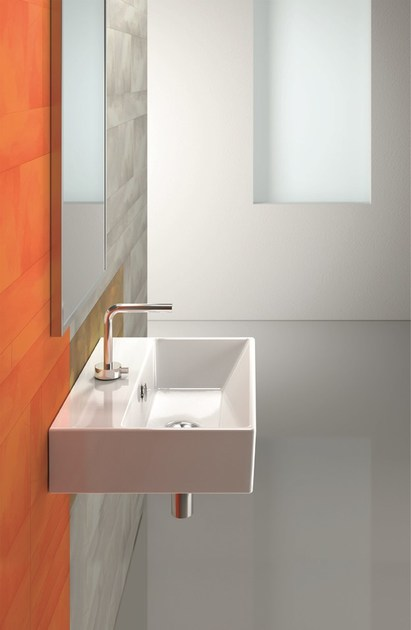 Rectangular wall-mounted ceramic washbasin PREMIUM 55 | Washbasin - CERAMICA CATALANO