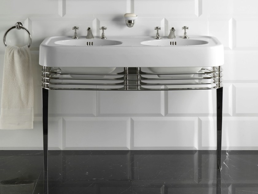 Console de lavabo double wide blues by devon devon for Console lavabo salle de bain