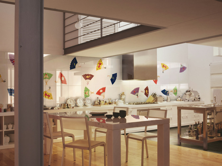 Rivestimento in ceramica bicottura ventagli by ceramica bardelli design davide pizzigoni - Ceramica bardelli cucina ...