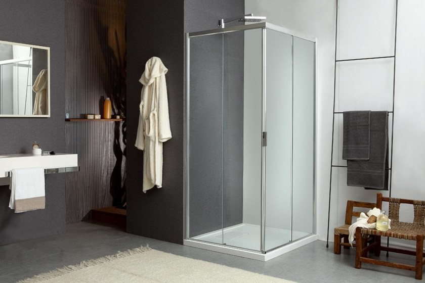 Corner shower cabin with sliding door MORE LIVE Z - MEGIUS