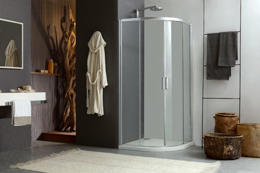 Corner shower cabin with sliding door MORE LIVE R2S - MEGIUS