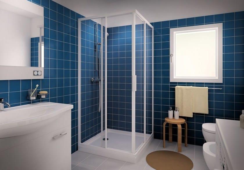 Corner shower cabin with sliding door CLASSIC A - MEGIUS