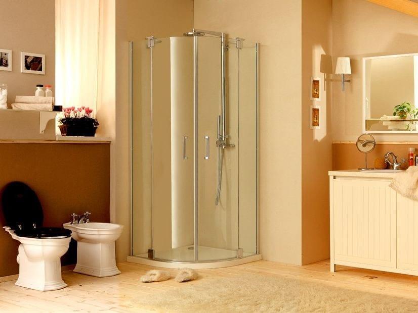 Corner shower cabin with hinged door MUST R2B - MEGIUS