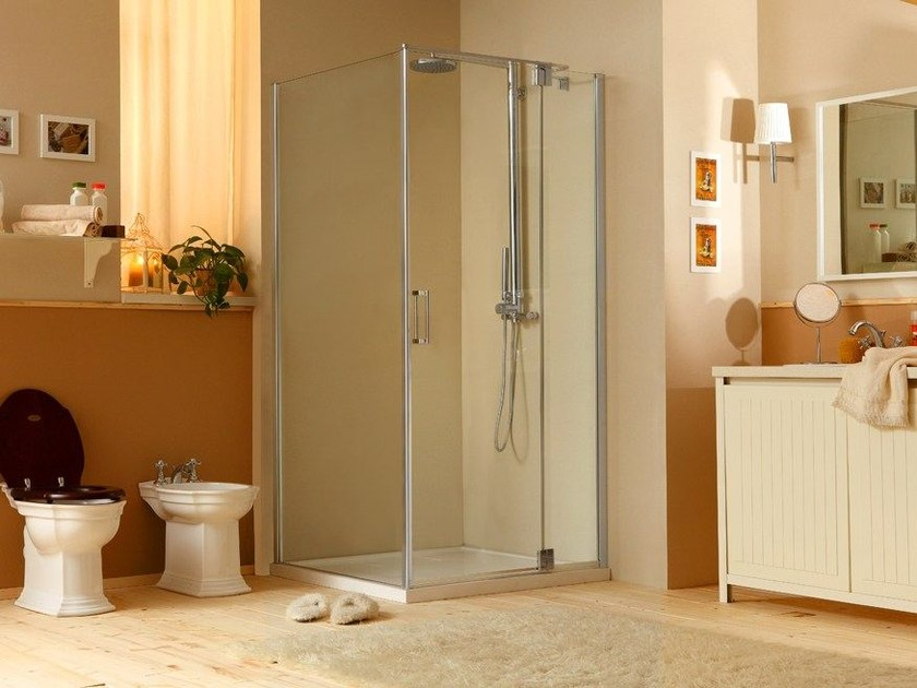 Corner shower cabin with hinged door MUST LA - MEGIUS